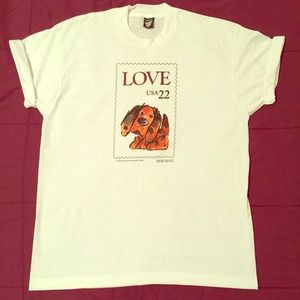 VTG 80's postage puppy love stamp deadstock tee