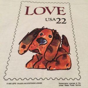 Vintage Tops - VTG 80's postage puppy love stamp deadstock tee