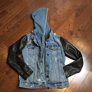 Denim and leather hoodie jacket