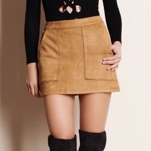 Suede Mini Skirt with Pockets