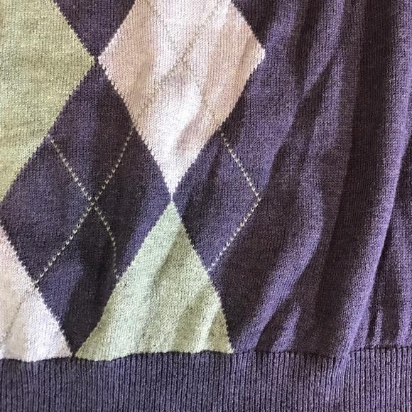 Banana Republic Sweaters - Banana Republic Silk Cotton Purple Argyle Sweater