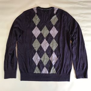 Banana Republic Silk Cotton Purple Argyle Sweater