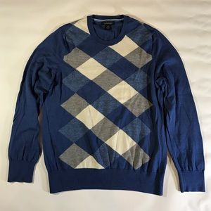 Banana Republic Blue Gray Diamond Crewneck Sweater