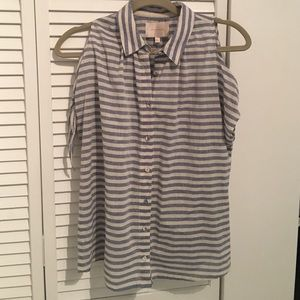 Skies Are Blue Tops - Skies Are Blue Striped cold shoulder top