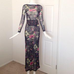 Jean Paul Gaultier Dresses & Skirts - Mesh floral maxi dress