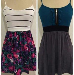 Mini dress/tunic bundle! Floral stripe colorblock