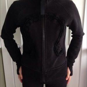 Black lace detail Lulu scuba hoodie