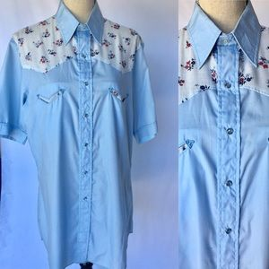 Western floral chambray embroidered shirt top sale