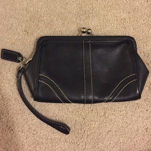 Coach black leather wristlet snap pouch