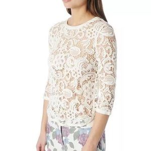 DOLCE VITA Eyelet Blouse Intricate Lace Gauze Top