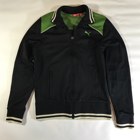 Puma Other - Puma Black Green Ivory Zip Up Track Jacket M