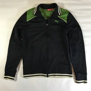 Puma Jackets & Coats - Puma Black Green Ivory Zip Up Track Jacket M