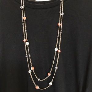 Beaded multistrand long necklace