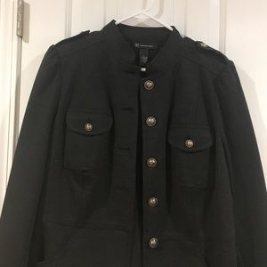 INC Charcoal gray military style women's jacket
