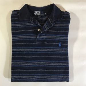 Ralph Lauren 100% Cotton Navy Striped Polo M