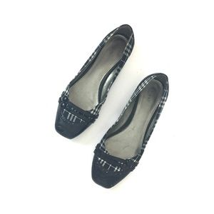 FIONI Clothing Shoes - Black and white plaid square toe flats