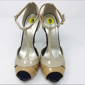 Guess platform heels pump tan black open toe shoes