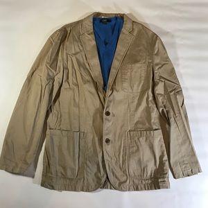 J. Crew Jackets & Blazers - J.Crew Khaki 100% Cotton Mena Blazer Jacket Large