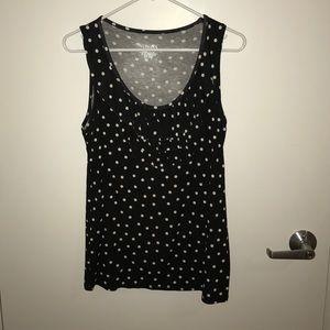 Merona black and white polka dot tank