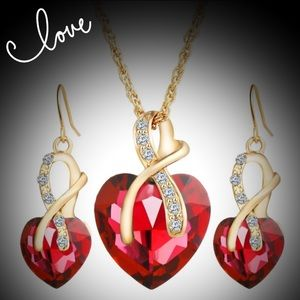 Jewelry - Crystal red heart ❤️ necklace and earrings