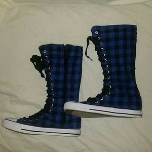 Shoes - Plaid mid calf sneakers