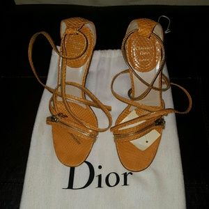 AUTHENTIC Christian Dior python gold zip sandal