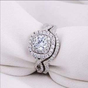 Jewelry - 925 sterling silver engagement wedding band set