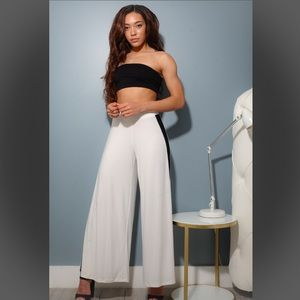 Callie Lives Pants - White Palazzo Wide Leg Penguin Pants Small