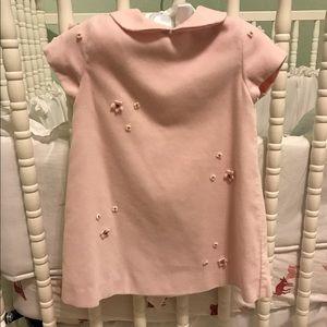 Luli & Me Other - Luli & Me Velvet Pink Baby Dress Peter Pan Collar