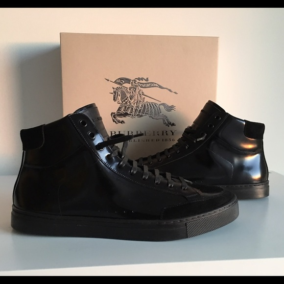628d5bb37a89 Burberry Shoes | Mens Black Leather High Top Sneakers | Poshmark