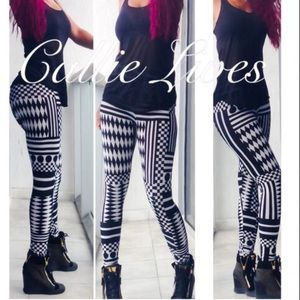 Callie Lives Pants - Geometric Circles Diamonds Black White Leggings