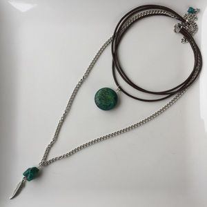 Turquoise Boho leather choker with chain.