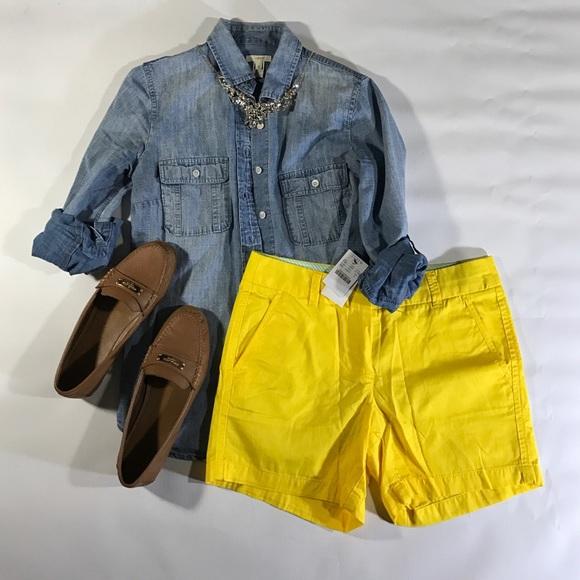 J. Crew Shorts - J.Crew Neon Yellow Bermuda Shorts sz XS 0