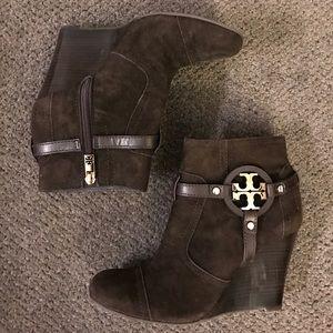 Tory Burch Shoes - Tory Burch Brown Suede Wedge Booties (Sz 6.5)