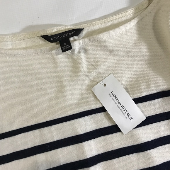Banana Republic Tops - Banana Republic Navy White Striped Cotton Pullover