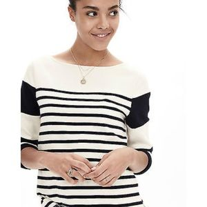 Banana Republic Navy White Striped Cotton Pullover