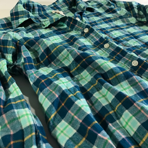 J. Crew Tops - J.Crew 100% Cotton Flannel Green Plaid Shirt XS