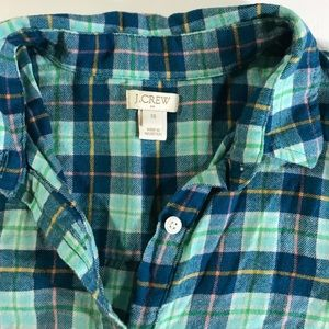 J. Crew Tops - J.Crew 100% Cotton Flannel Green Plaid Shirt XS
