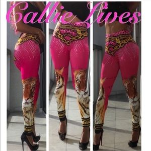 731b47944ca8ed Callie Lives Pants | Pink Tiger Versace Esque Silky Spandex Leggings ...