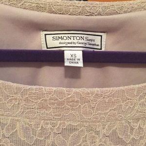 George Simonton Tops - Simonton taupe lace blouse
