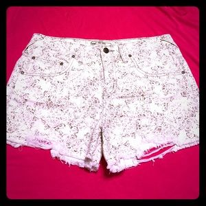 Free People Pants - Free People | Patterned Cream Jean Shorts