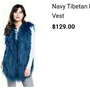 Fabulous Furs  Jackets & Blazers - Fabulous Furs Navy Tibetan Lamb Fur Vest (faux)