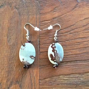 Picture Jasper and Garnet Boho earrings.