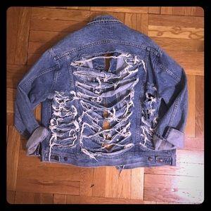 LF Stores Jackets & Blazers - Vintage shredded denim jacket