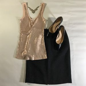 Express 100% Cotton Peach Sequined Tank Top XS