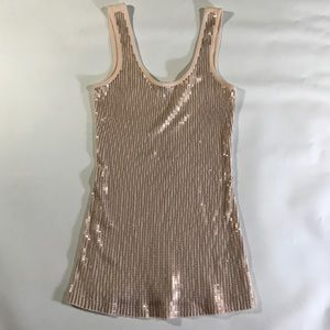 Express Tops - Express 100% Cotton Peach Sequined Tank Top XS