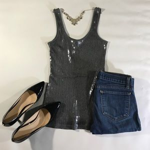 Express 100% Cotton Sequined Gray Tank Top Small