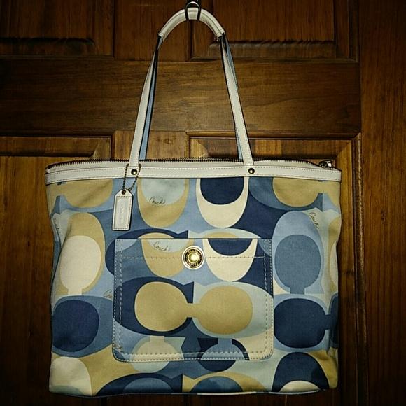 4e43af7455 Coach Handbags - Coach Multi-Color Sig. Scarf Print Tote Bag 11736