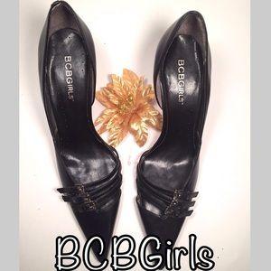 BCBGIrls Black Pointy-Toe Leather Pump Size 5.5 B
