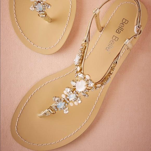 Anthropologie Shoes Bhldn Tulum Jeweled Beach Wedding Flat Sandals